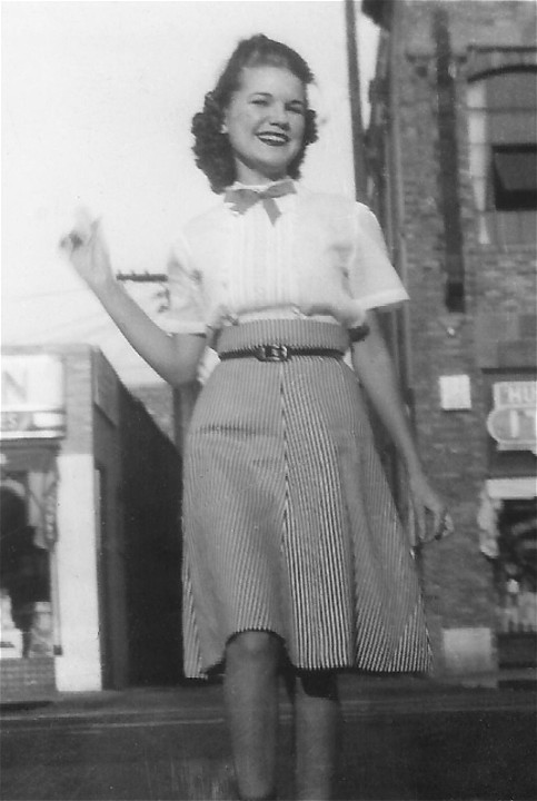 Peggy during high school years in downtown Huntington Park