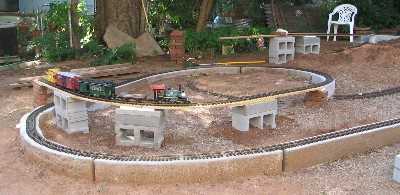 Temporary track showing concrete block supports